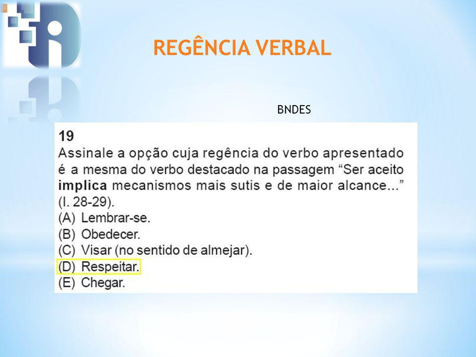 REGÊNCIA VERBAL BNDES