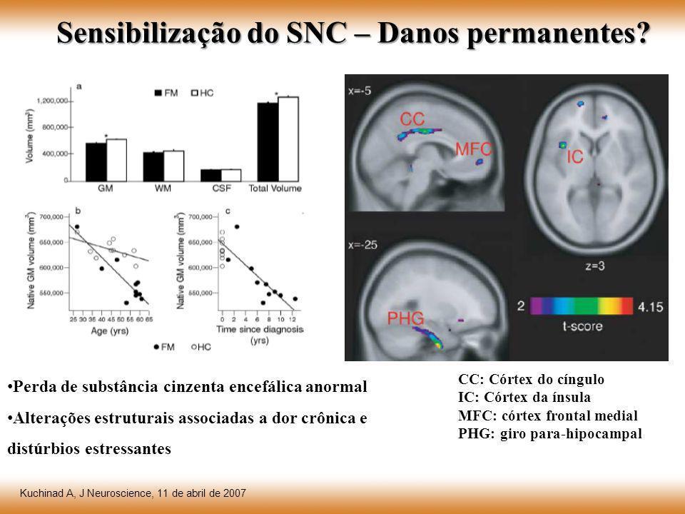 Sensibilização do SNC – Danos permanentes