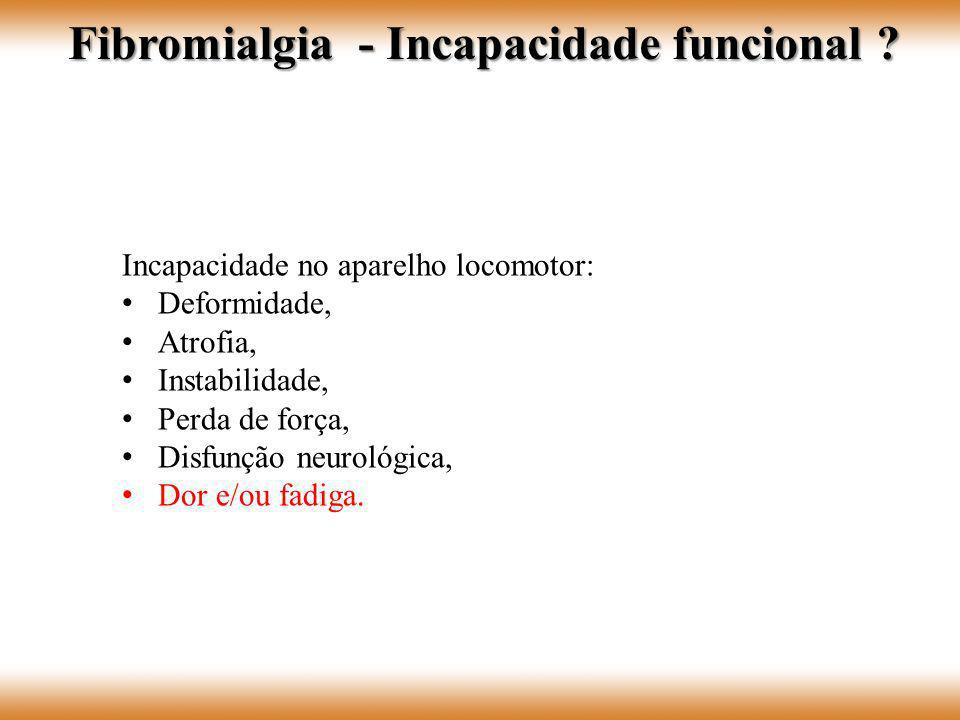 Fibromialgia - Incapacidade funcional