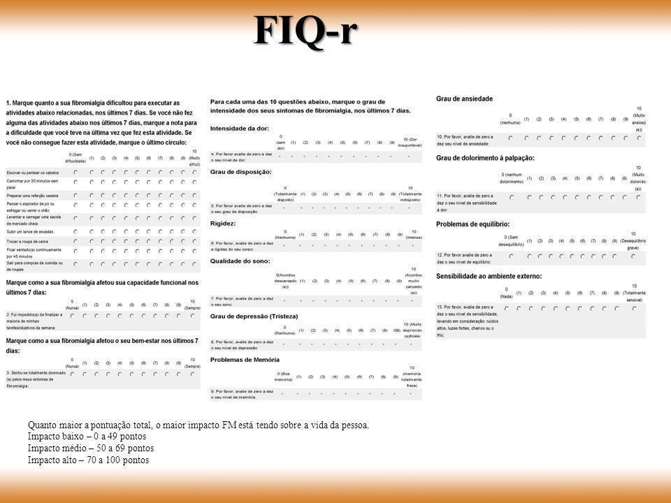FIQ-r Quanto maior a pontuação total, o maior impacto FM está tendo sobre a vida da pessoa. Impacto baixo – 0 a 49 pontos.