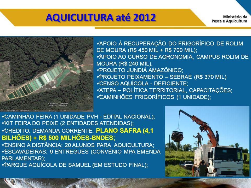 AQUICULTURA até 2012 APOIO À RECUPERAÇÃO DO FRIGORÍFICO DE ROLIM DE MOURA (R$ 450 MIL + R$ 700 MIL);