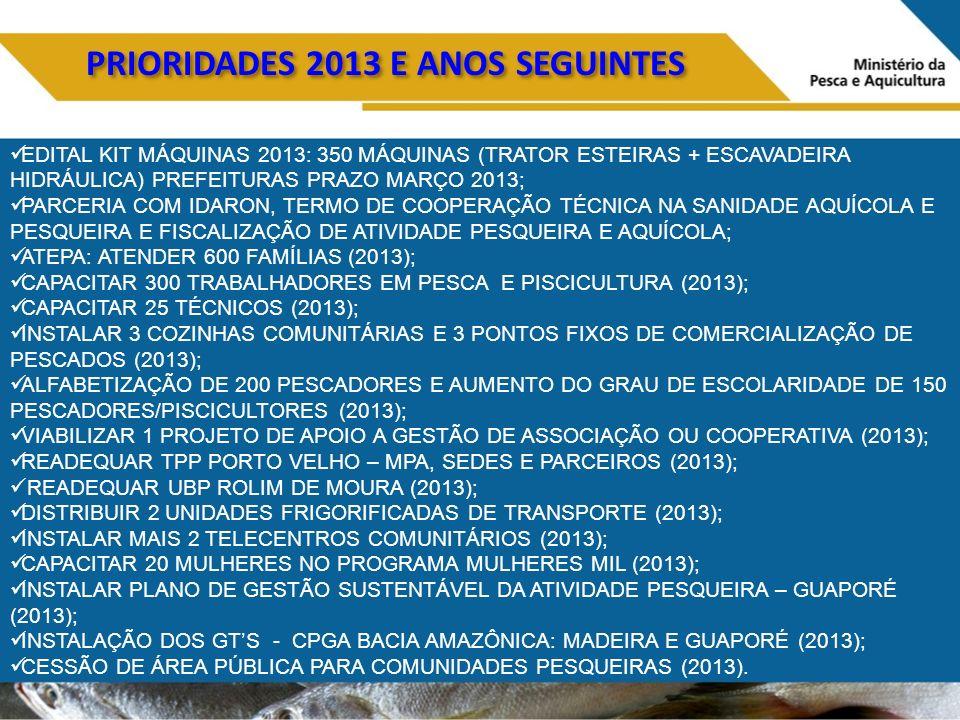 PRIORIDADES 2013 E ANOS SEGUINTES