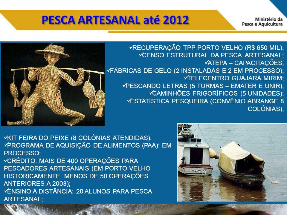 PESCA ARTESANAL até 2012 RECUPERAÇÃO TPP PORTO VELHO (R$ 650 MIL);
