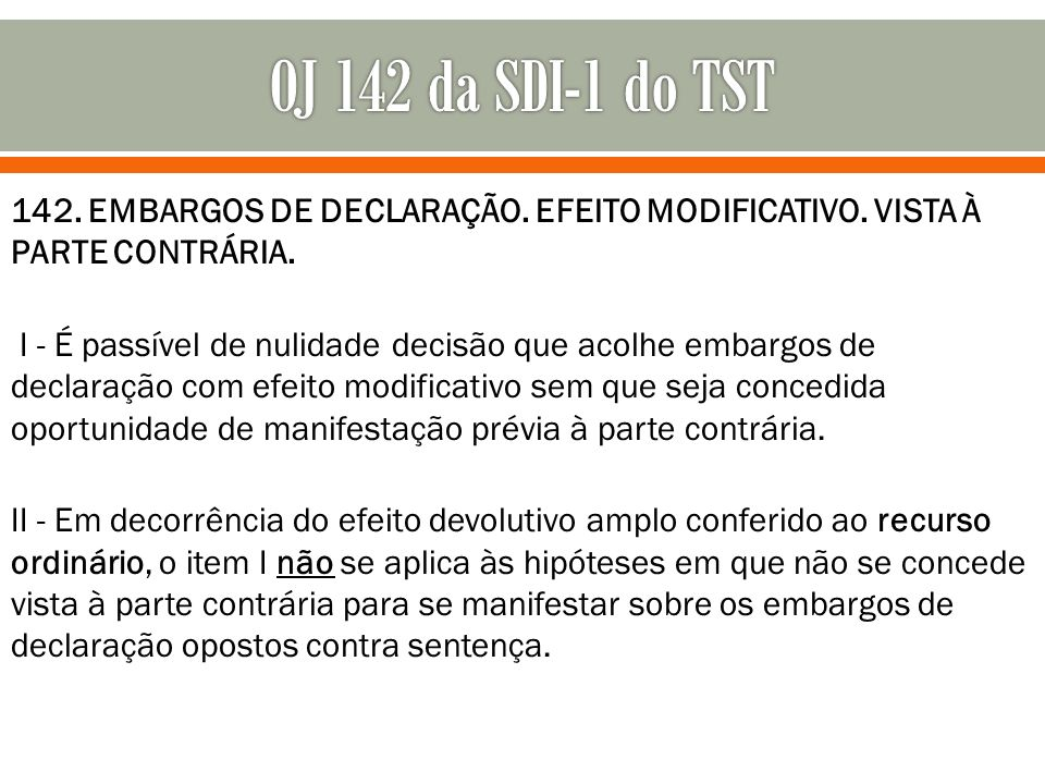 OJ 142 da SDI-1 do TST