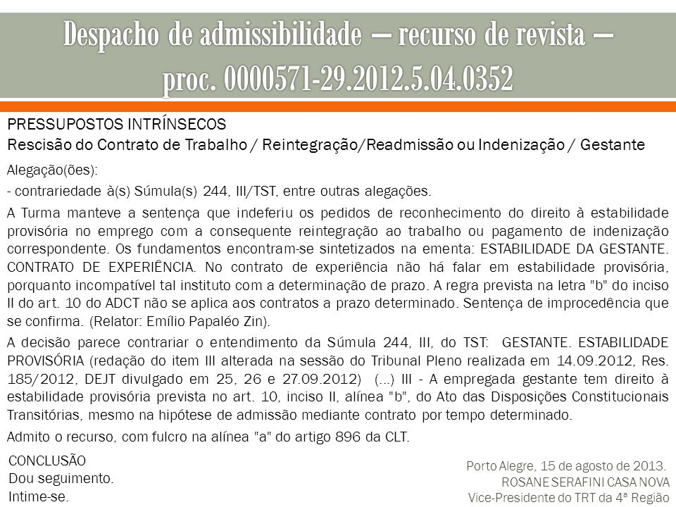 Despacho de admissibilidade – recurso de revista – proc. 0000571-29