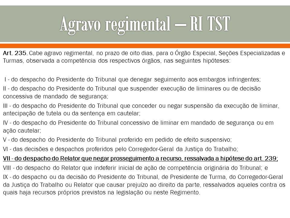 Agravo regimental – RI TST