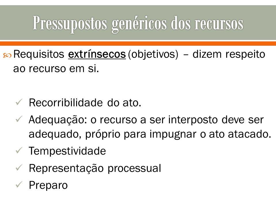 Pressupostos genéricos dos recursos