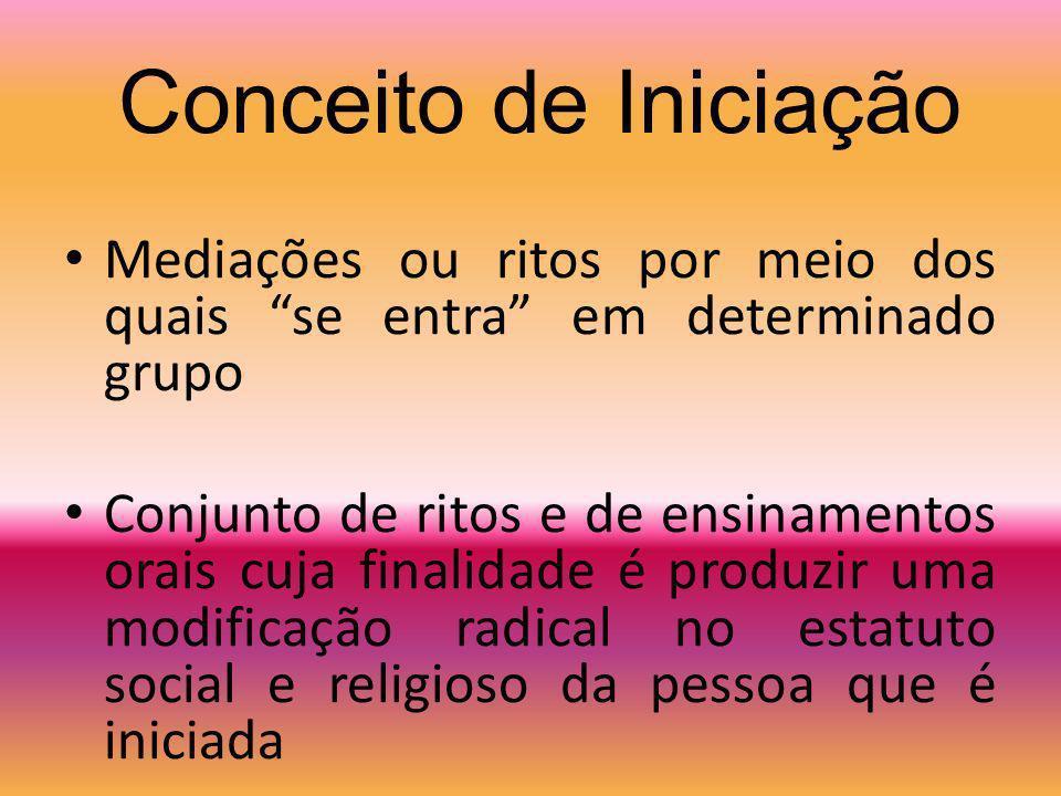 Conceito de Iniciação Mediações ou ritos por meio dos quais se entra em determinado grupo.