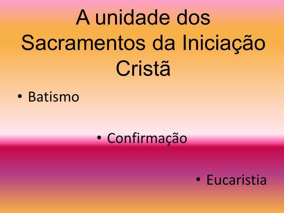 A unidade dos Sacramentos da Iniciação Cristã