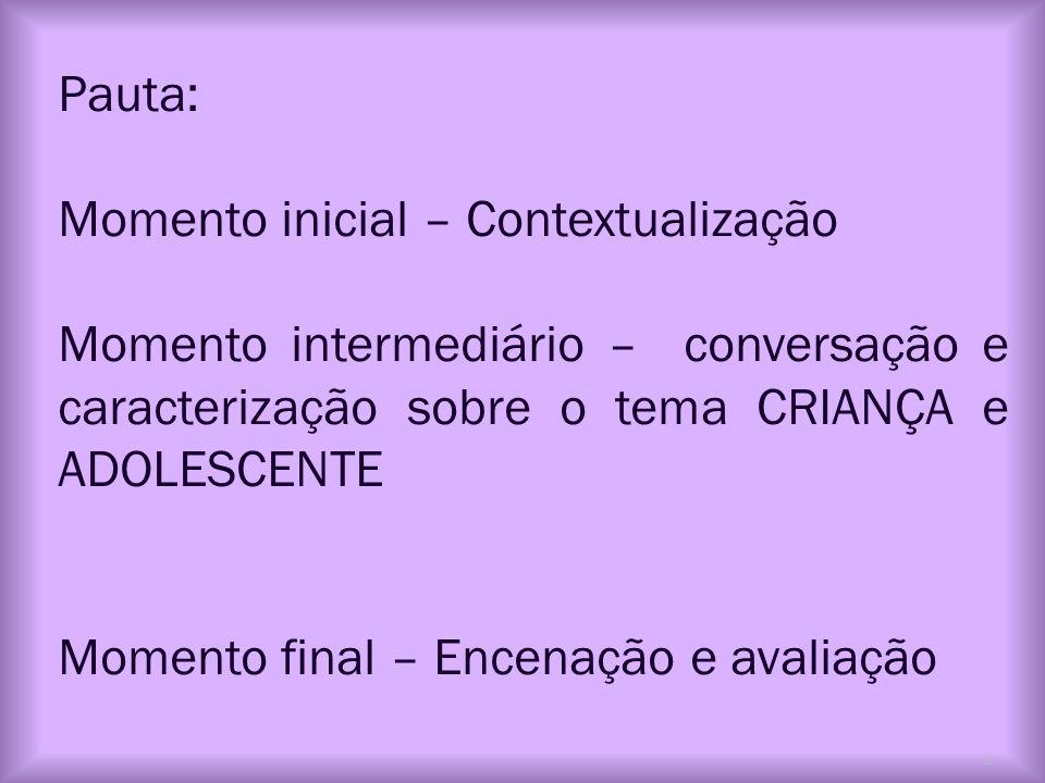 Pauta: Momento inicial – Contextualização. Momento intermediário – conversação e caracterização sobre o tema CRIANÇA e ADOLESCENTE.
