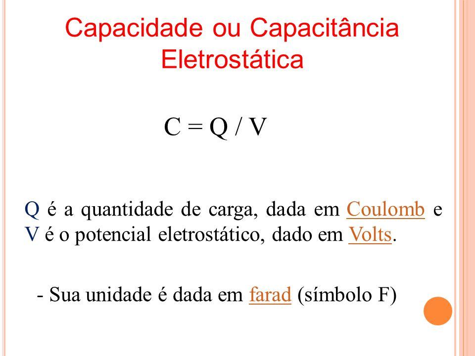 Capacidade ou Capacitância Eletrostática