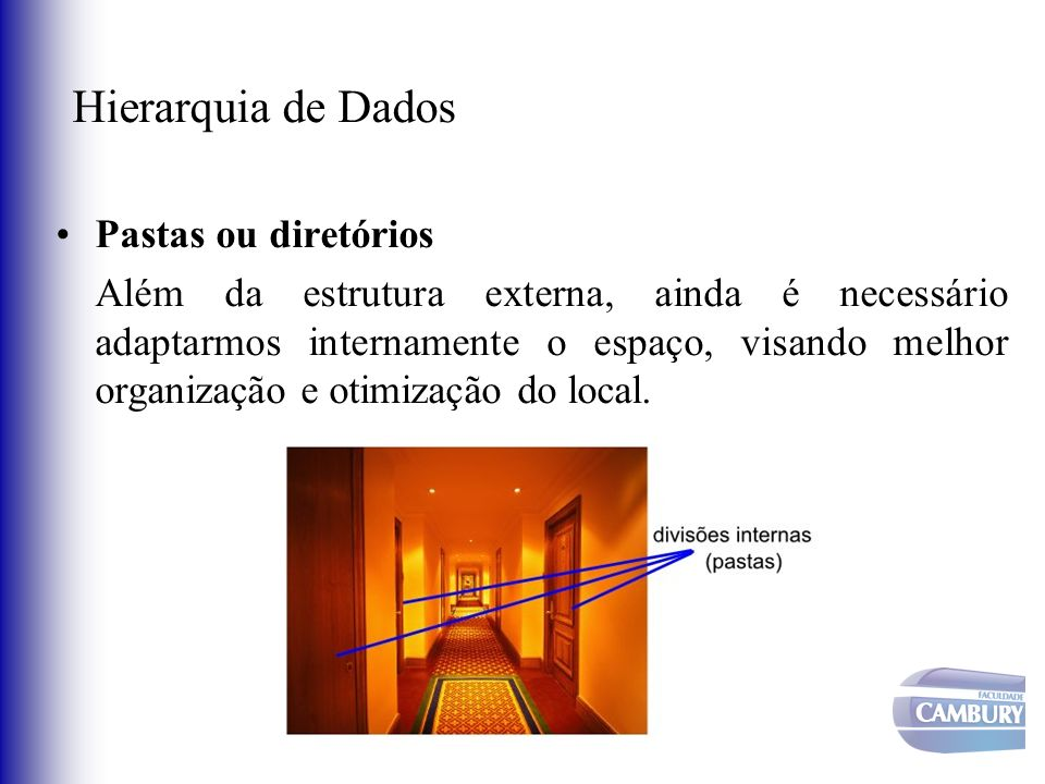 Hierarquia de Dados Pastas ou diretórios