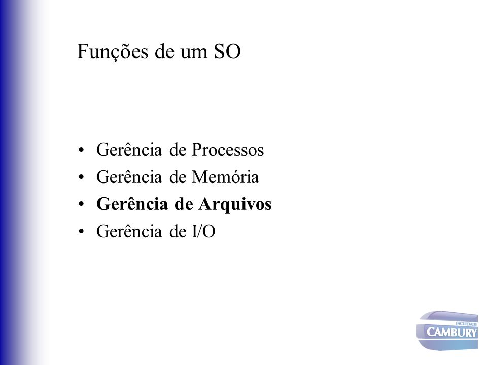 Funções de um SO Gerência de Processos Gerência de Memória