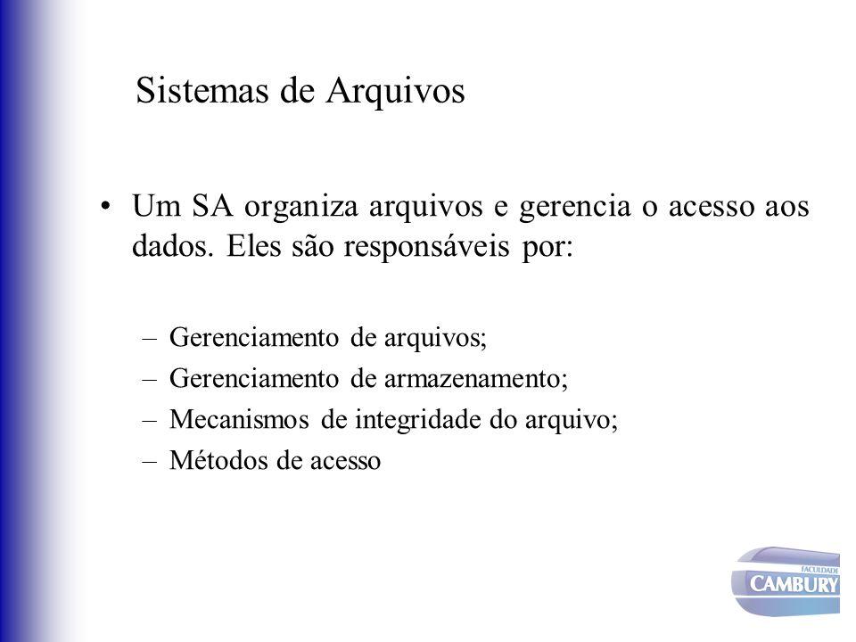 Sistemas de Arquivos Um SA organiza arquivos e gerencia o acesso aos dados. Eles são responsáveis por: