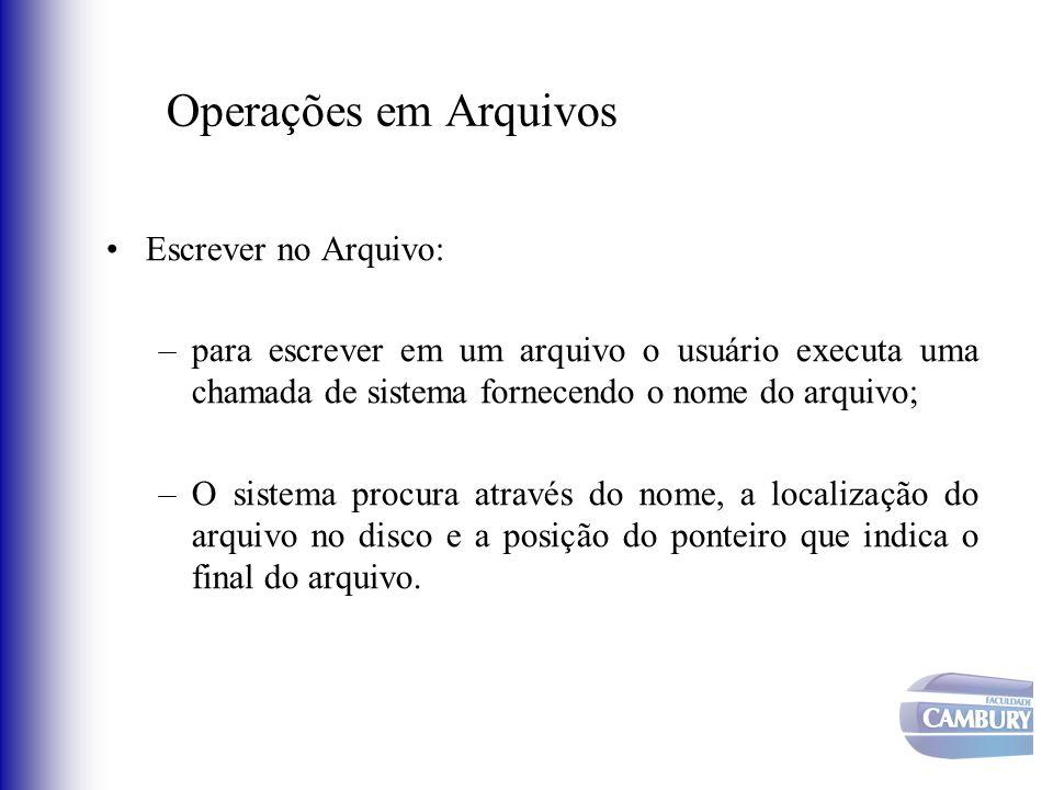 Operações em Arquivos Escrever no Arquivo: