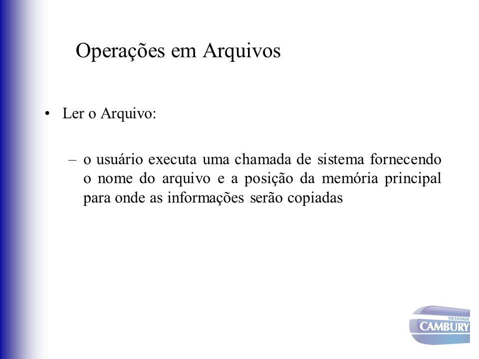 Operações em Arquivos Ler o Arquivo: