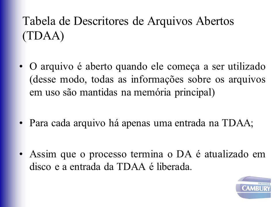 Tabela de Descritores de Arquivos Abertos (TDAA)