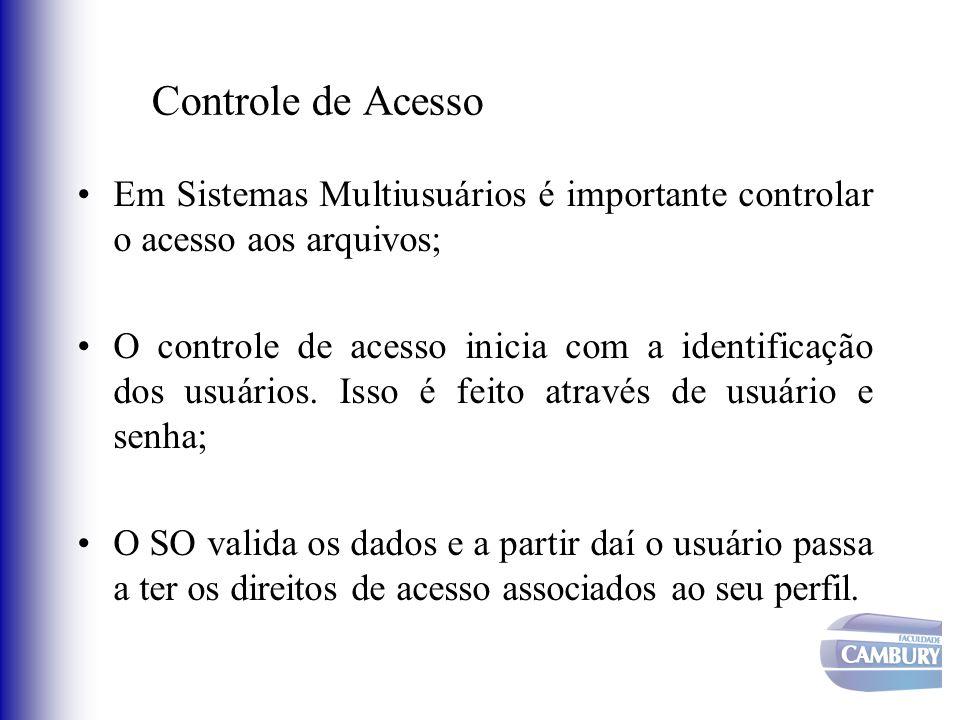 Controle de Acesso Em Sistemas Multiusuários é importante controlar o acesso aos arquivos;