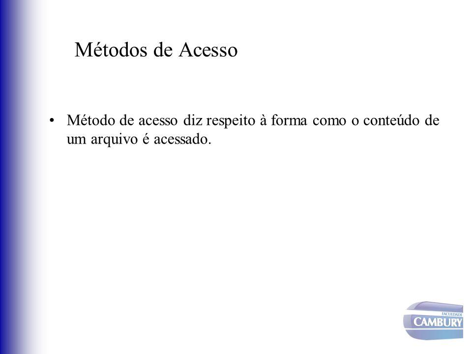 Métodos de Acesso Método de acesso diz respeito à forma como o conteúdo de um arquivo é acessado.