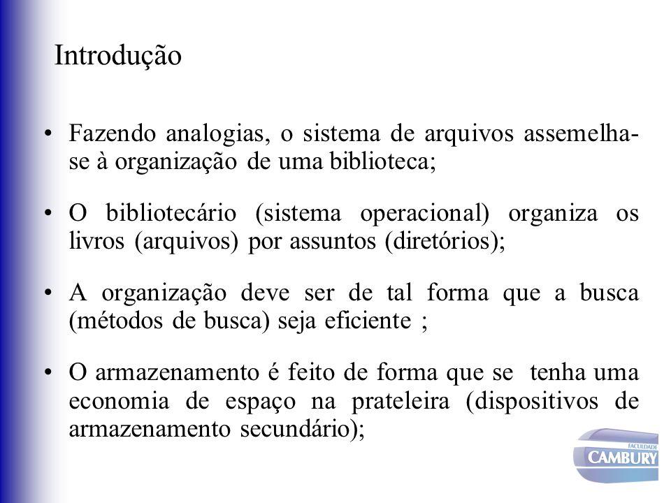 Introdução Fazendo analogias, o sistema de arquivos assemelha-se à organização de uma biblioteca;