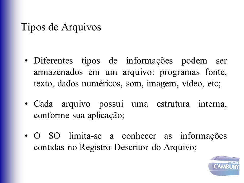 Tipos de Arquivos