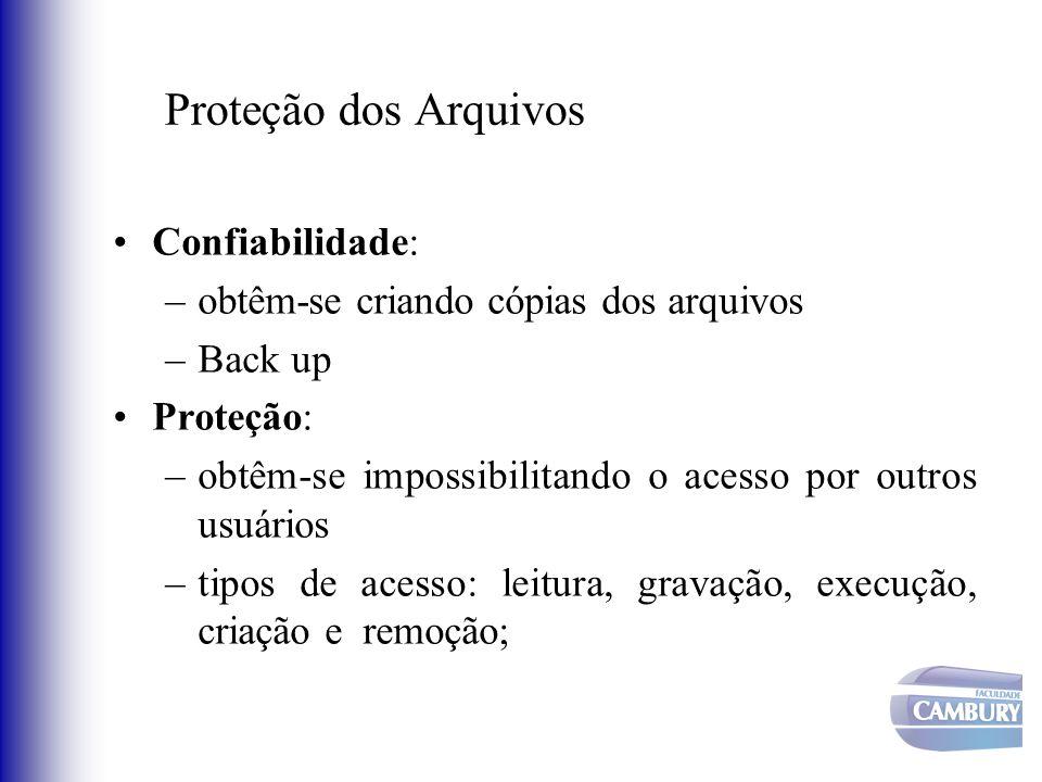 Proteção dos Arquivos Confiabilidade: