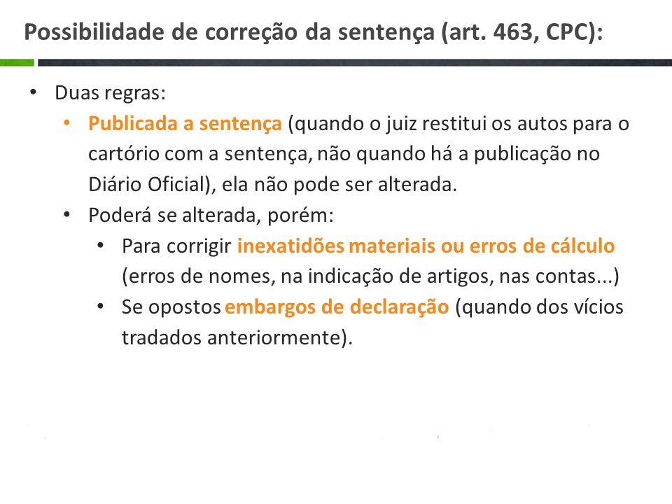 Possibilidade de correção da sentença (art. 463, CPC):