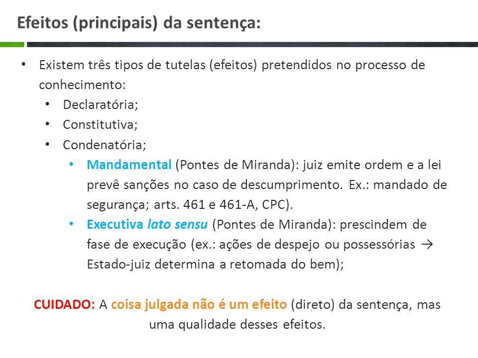 Efeitos (principais) da sentença: