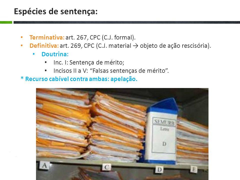 Espécies de sentença: Terminativa: art. 267, CPC (C.J. formal).