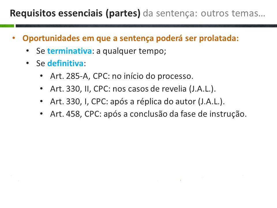 Requisitos essenciais (partes) da sentença: outros temas…