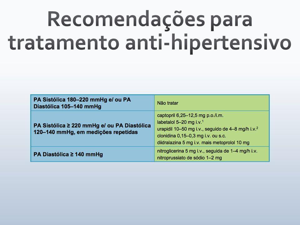 Recomendações para tratamento anti-hipertensivo