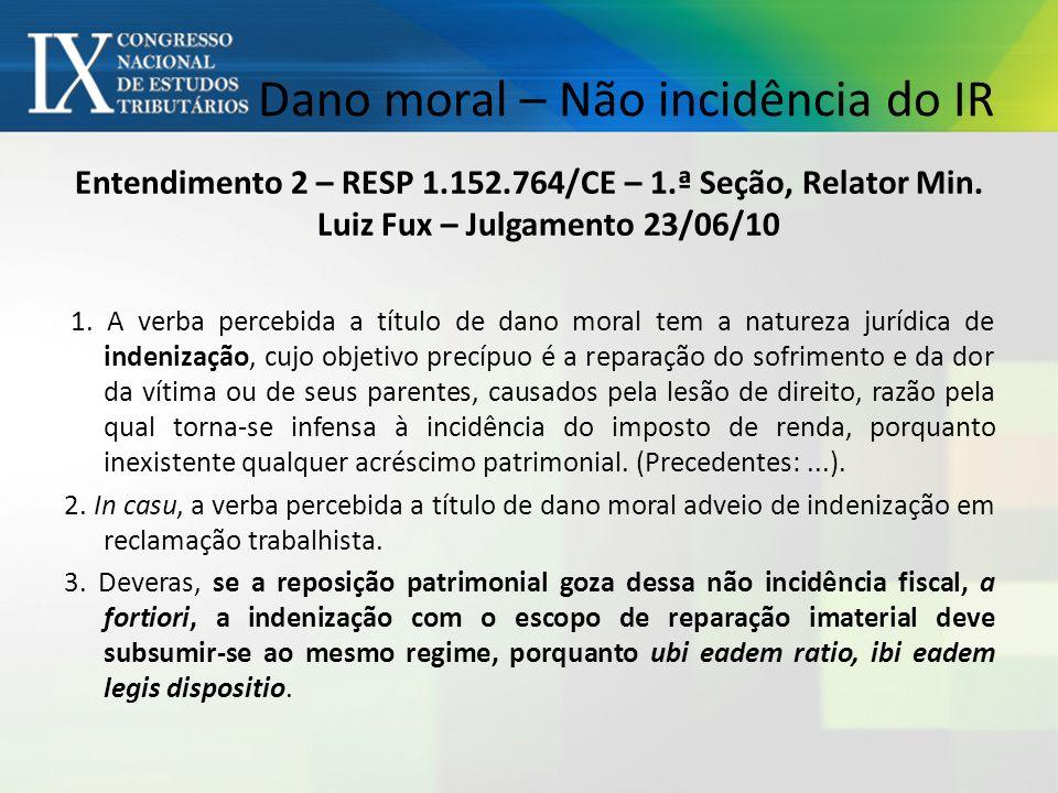 Dano moral – Não incidência do IR