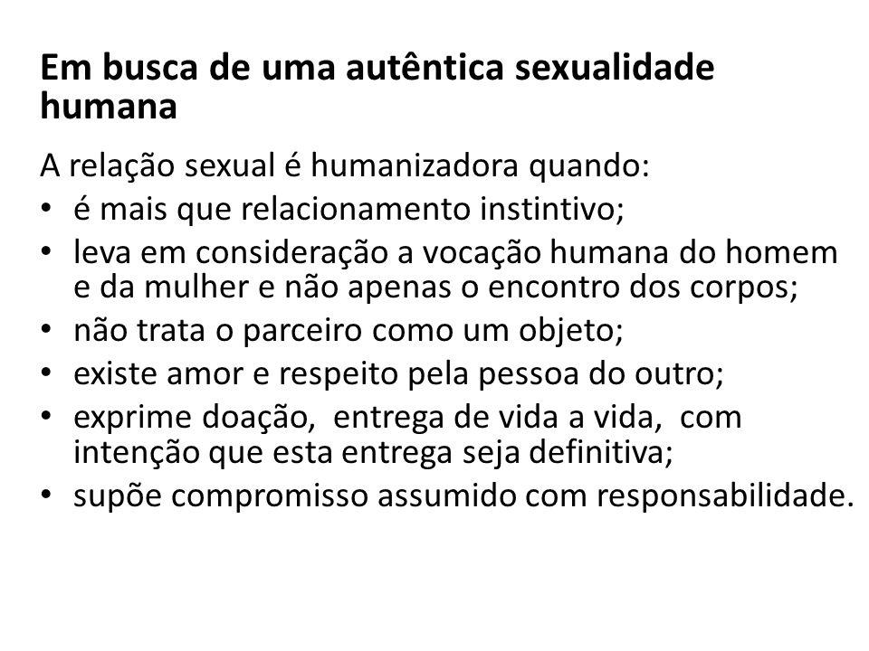 Em busca de uma autêntica sexualidade humana