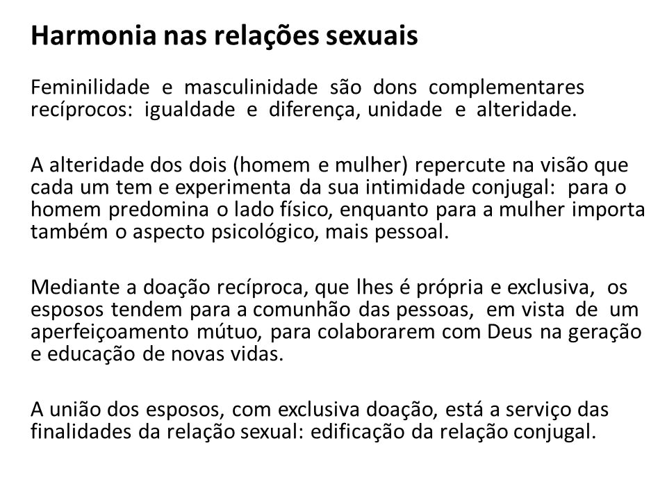Harmonia nas relações sexuais