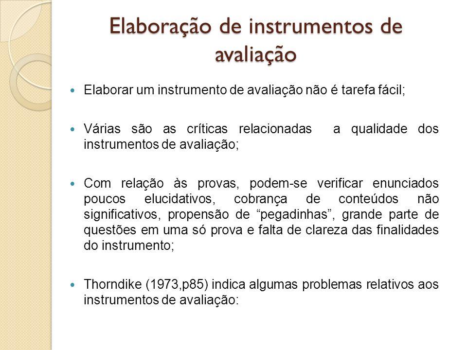 Elaboração de instrumentos de avaliação