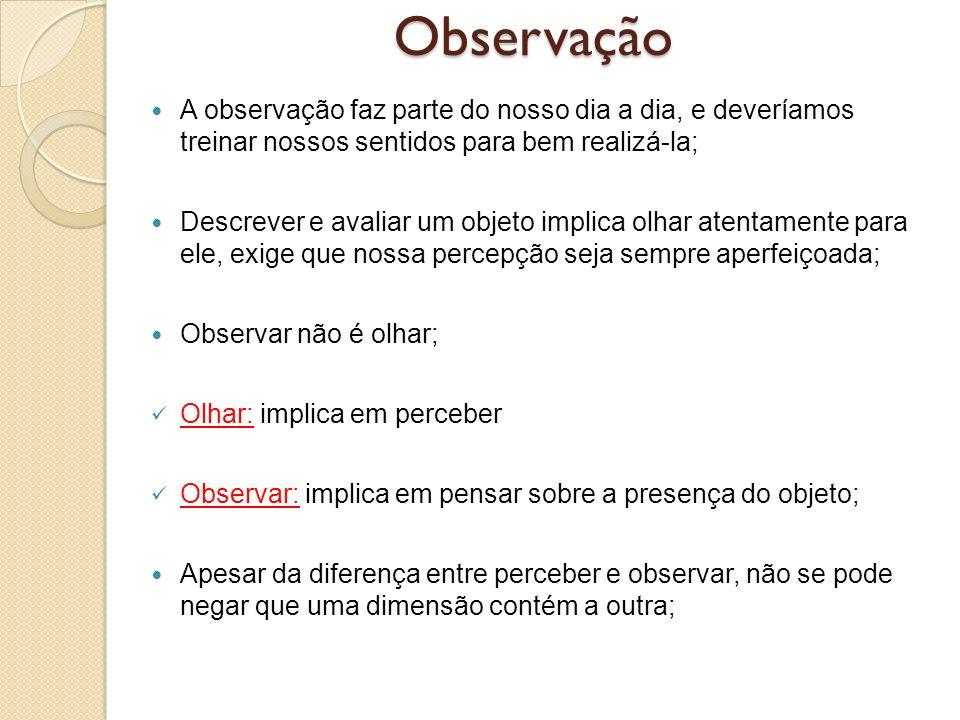 Observação A observação faz parte do nosso dia a dia, e deveríamos treinar nossos sentidos para bem realizá-la;