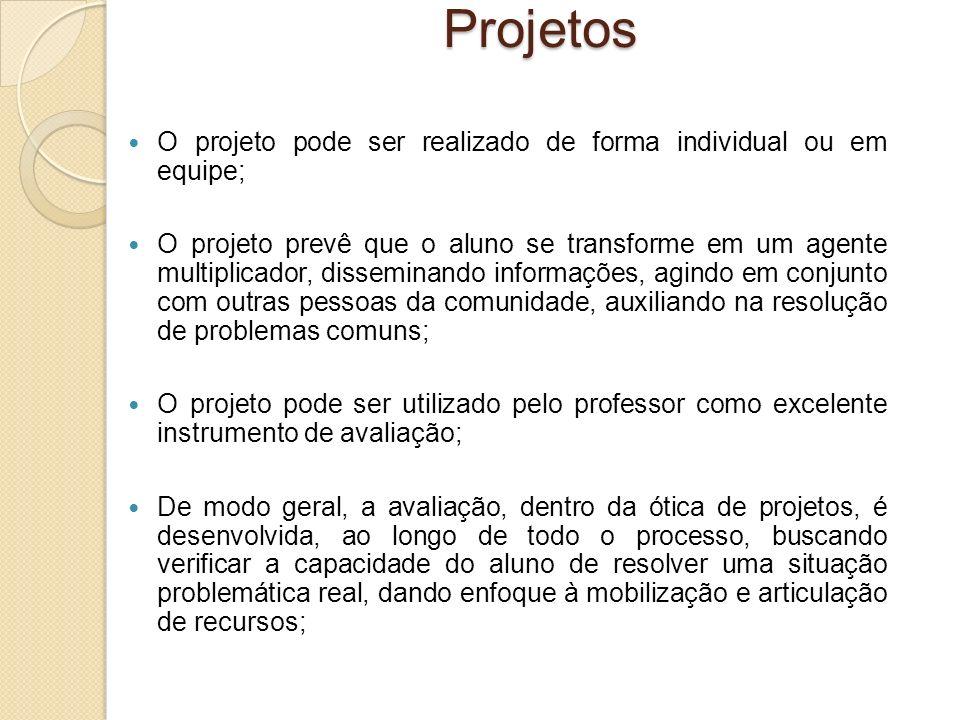 Projetos O projeto pode ser realizado de forma individual ou em equipe;