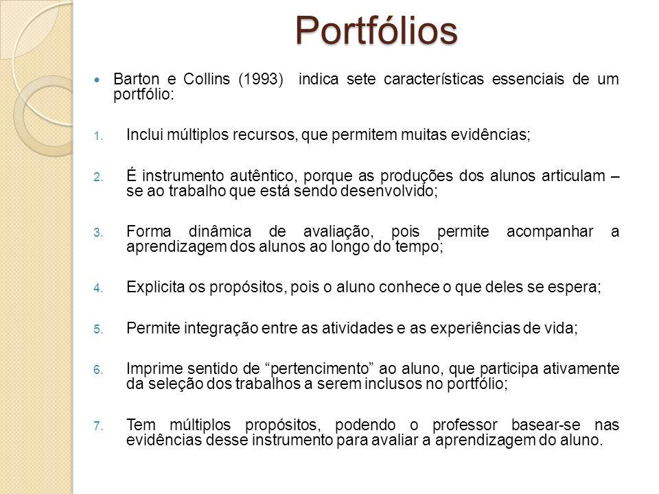 Portfólios Barton e Collins (1993) indica sete características essenciais de um portfólio: