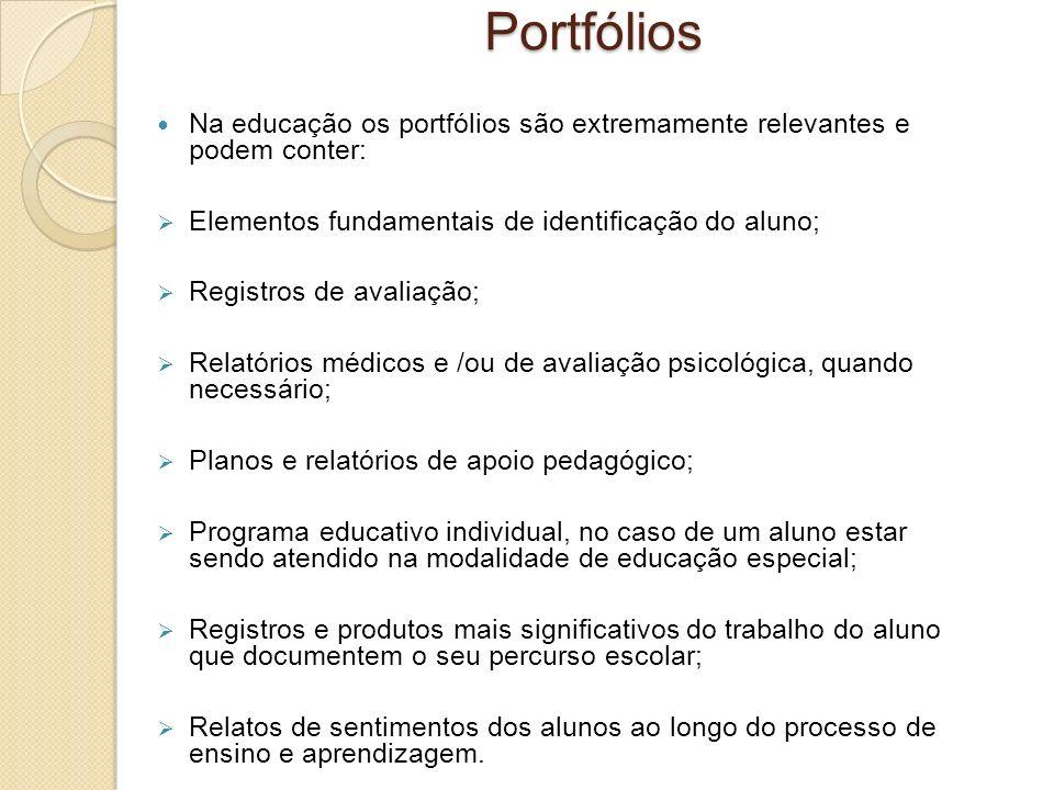Portfólios Na educação os portfólios são extremamente relevantes e podem conter: Elementos fundamentais de identificação do aluno;
