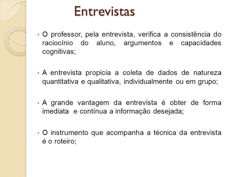 Entrevistas O professor, pela entrevista, verifica a consistência do raciocínio do aluno, argumentos e capacidades cognitivas;