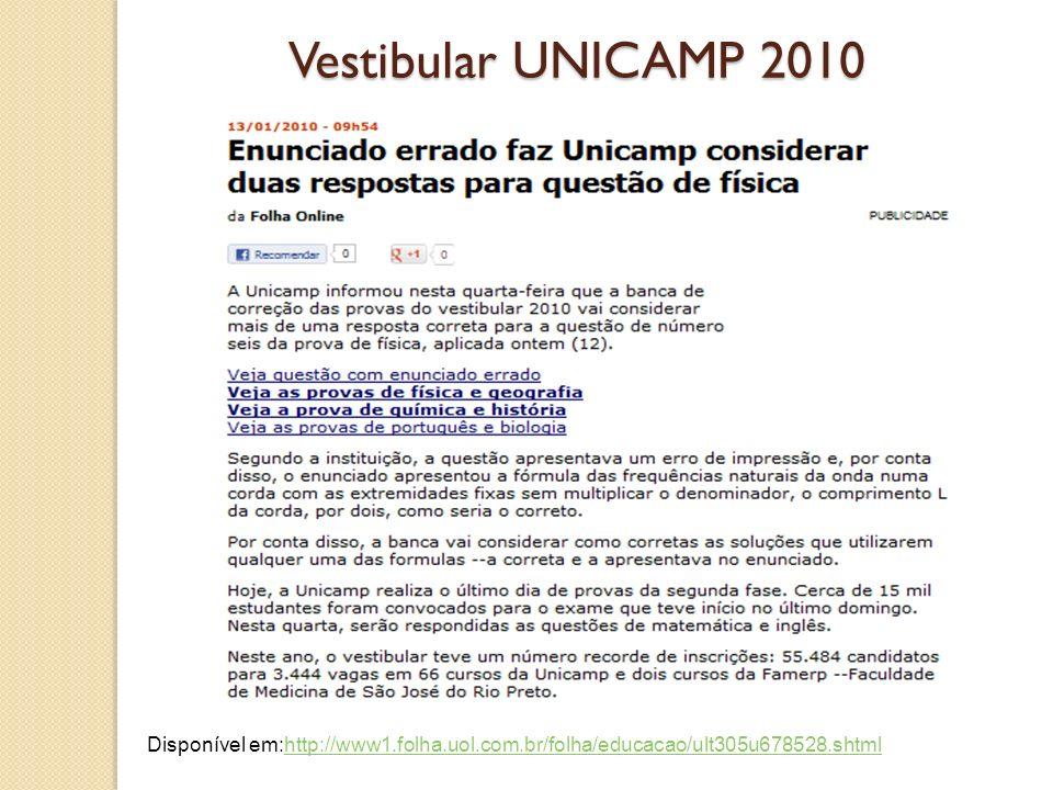 Vestibular UNICAMP 2010 Disponível em:http://www1.folha.uol.com.br/folha/educacao/ult305u678528.shtml.