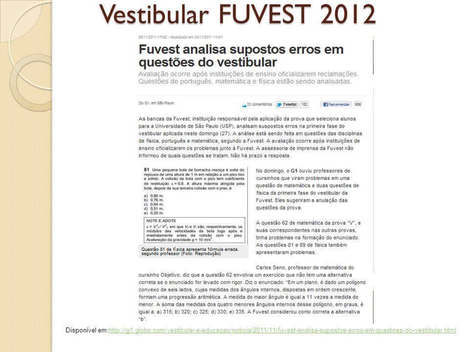 Vestibular FUVEST 2012