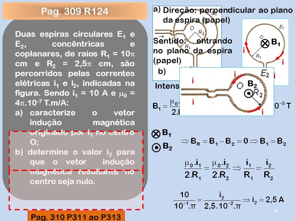 Pag. 309 R124 a) Direção: perpendicular ao plano da espira (papel)