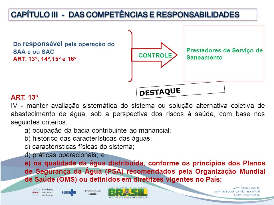 CAPÍTULO III - DAS COMPETÊNCIAS E RESPONSABILIDADES