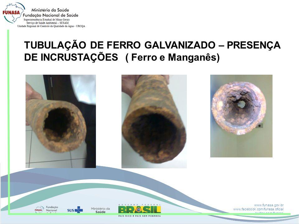 TUBULAÇÃO DE FERRO GALVANIZADO – PRESENÇA DE INCRUSTAÇÕES ( Ferro e Manganês)