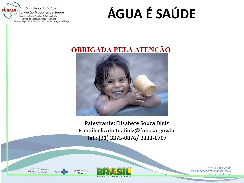 ÁGUA É SAÚDE OBRIGADA PELA ATENÇÃO Palestrante: Elizabete Souza Diniz