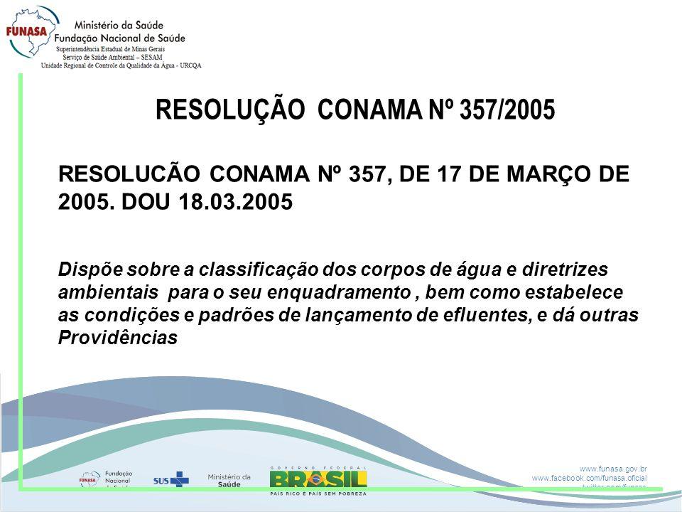 RESOLUÇÃO CONAMA Nº 357/2005 RESOLUCÃO CONAMA Nº 357, DE 17 DE MARÇO DE. 2005. DOU 18.03.2005.