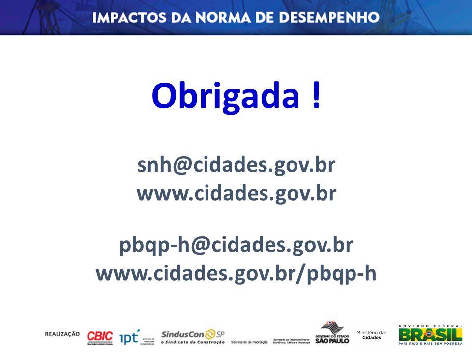 Obrigada ! snh@cidades.gov.br www.cidades.gov.br pbqp-h@cidades.gov.br
