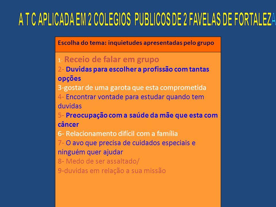 A T C APLICADA EM 2 COLEGIOS PUBLICOS DE 2 FAVELAS DE FORTALEZA