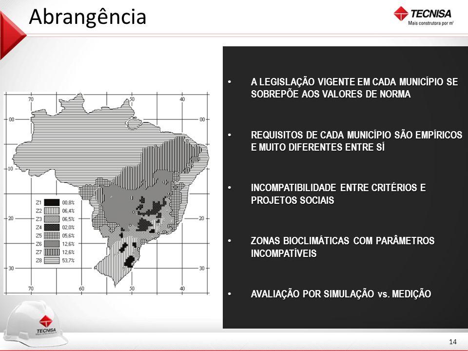 Abrangência A LEGISLAÇÃO VIGENTE EM CADA MUNICÍPIO SE SOBREPÕE AOS VALORES DE NORMA.